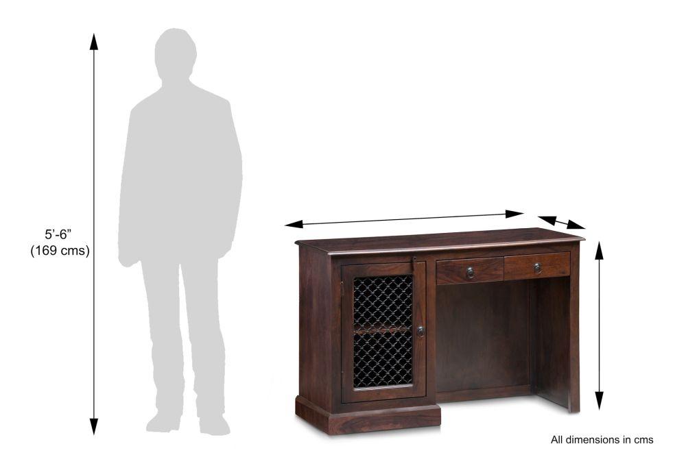 Iron Jali Sheesham Single Pedestal Desk