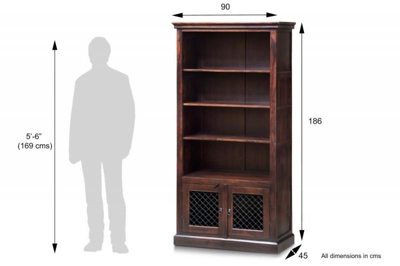 Iron Jali Sheesham Large Bookcase