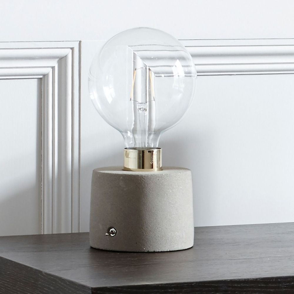 Redhill Brass Polished Table Lamp with Concrete Base