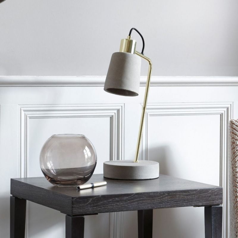 Havant Brass Polished Table Lamp with Concrete Base