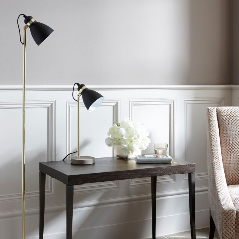 Ashorne Brass Polished Floor Lamp with Concrete Base