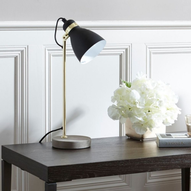 Ashorne Brass Polished Table Lamp with Concrete Base