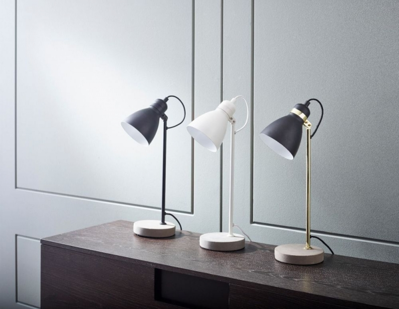 Ashorne White Matt Table Lamp with Concrete Base