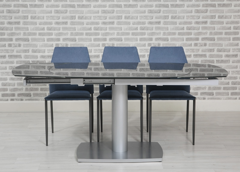 Laredo Grey 120cm-180cm Oval Extending Glass Dining Table with 4 Milo Blue Chairs