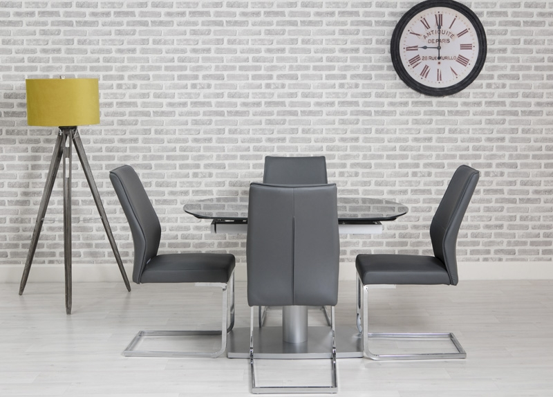 Laredo Grey 120cm-180cm Oval Extending Glass Dining Table with 4 Seattle Grey Chairs
