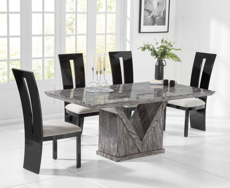 Livigno Marble Large Dining Table - Grey