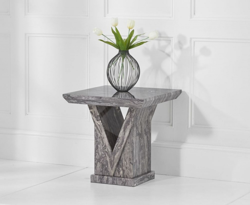 Livigno Marble Lamp Table - Grey