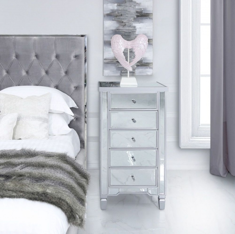 Wengen Mirrored 5 Drawer Chest - Silver Trim