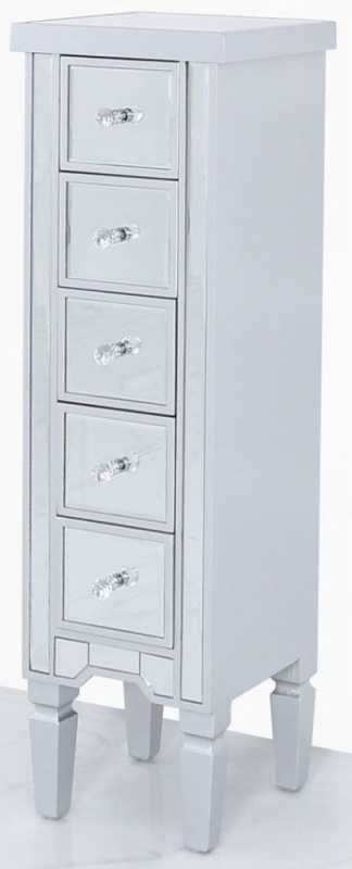 Wengen Mirrored 5 Drawer Tallboy Chest - Silver Trim