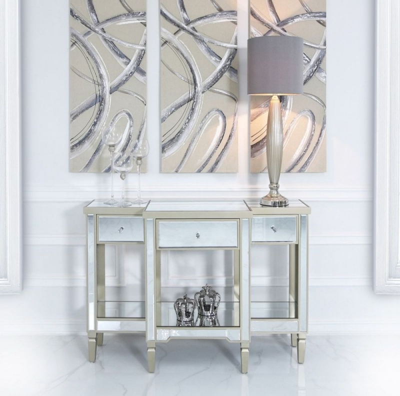Wengen Mirrored Large Console Table - Champagne Trim