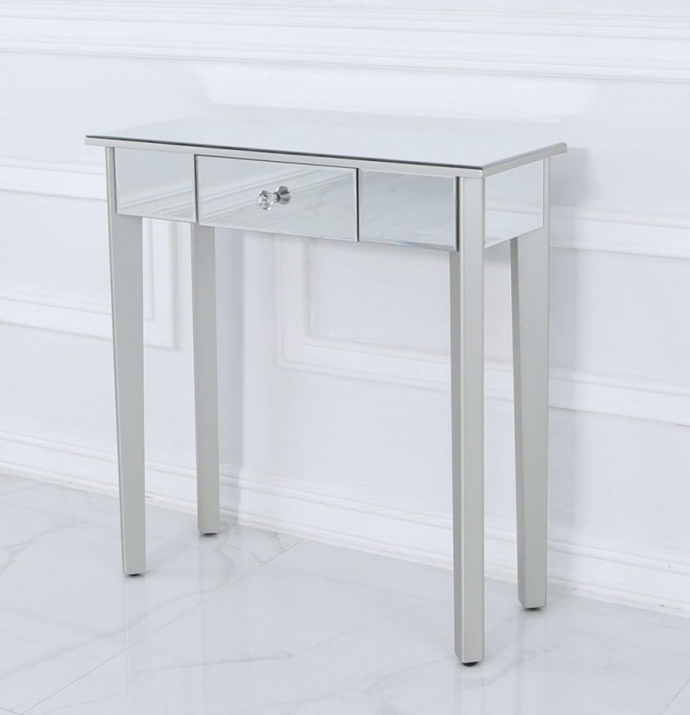 Allegan Mirrored and Silver Painted Console Table