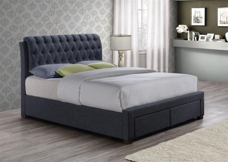 Paislee Charcoal Fabric Bed