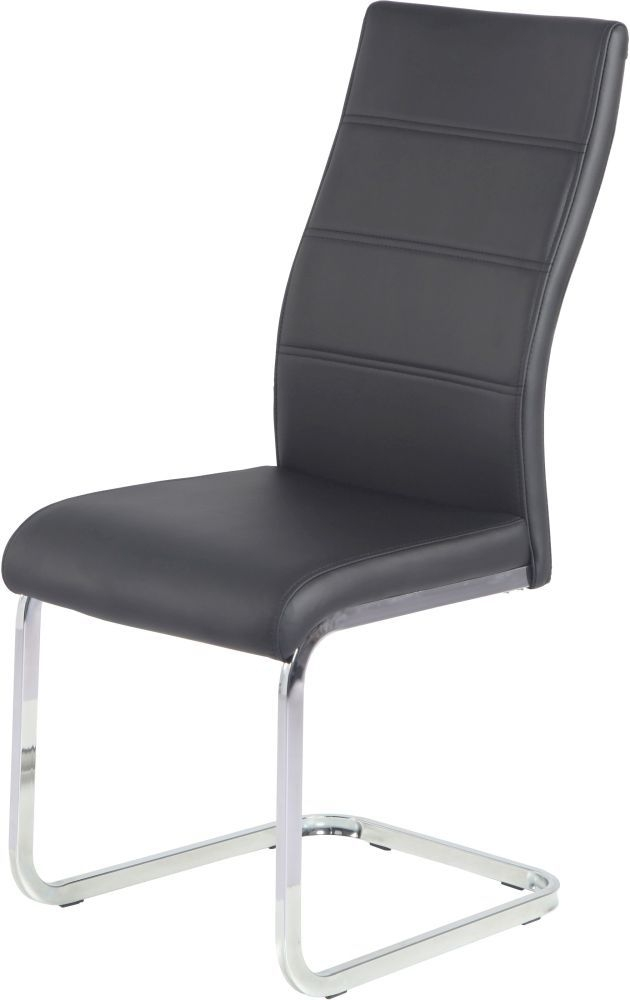 Urban Deco Malibu Black Faux Leather Swing Dining Chair (Pair)
