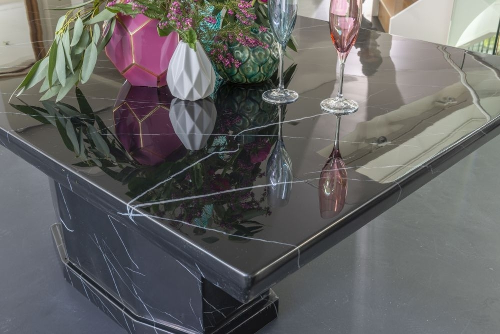 Urban Deco Naples Black Marble 200cm Rectangular Dining Table