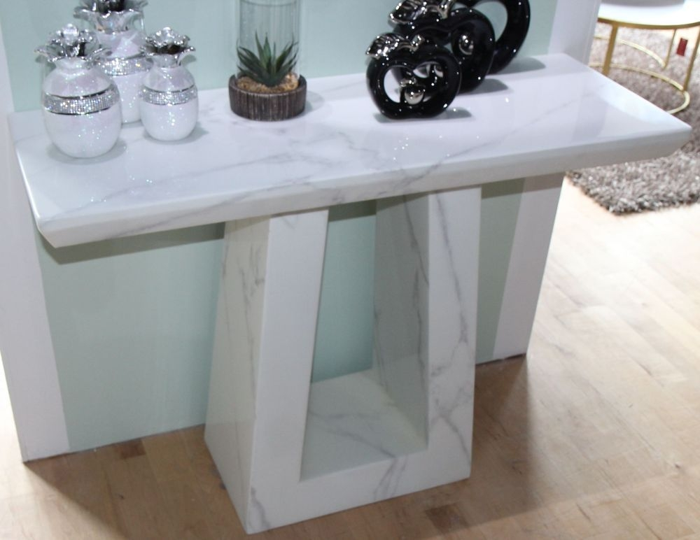 Urban Deco Milan White Marble Console Table