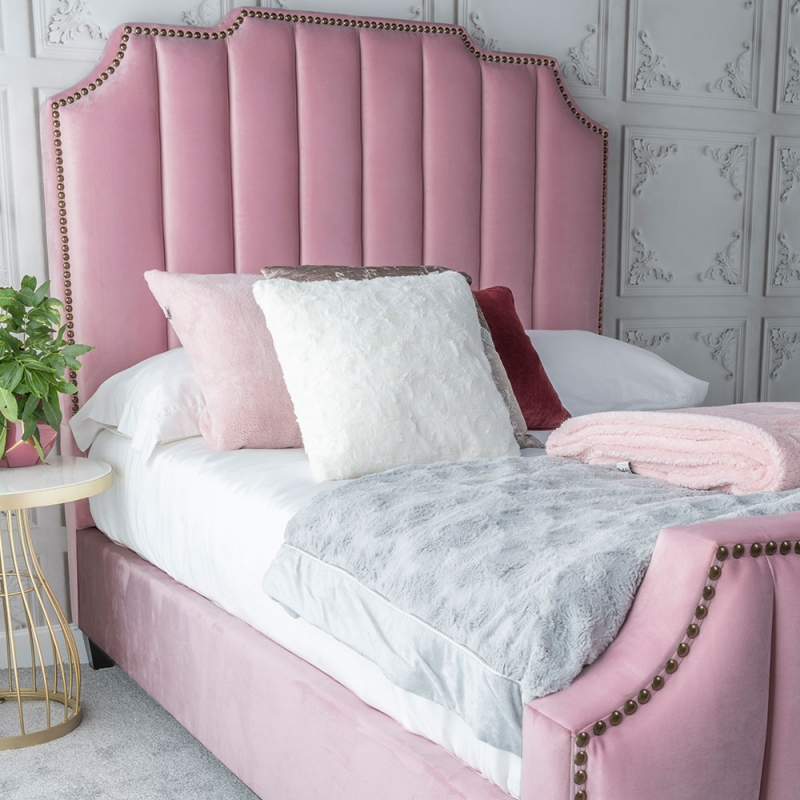 Urban Deco Charlotte Blush Pink Fabric 4ft 6in Bed