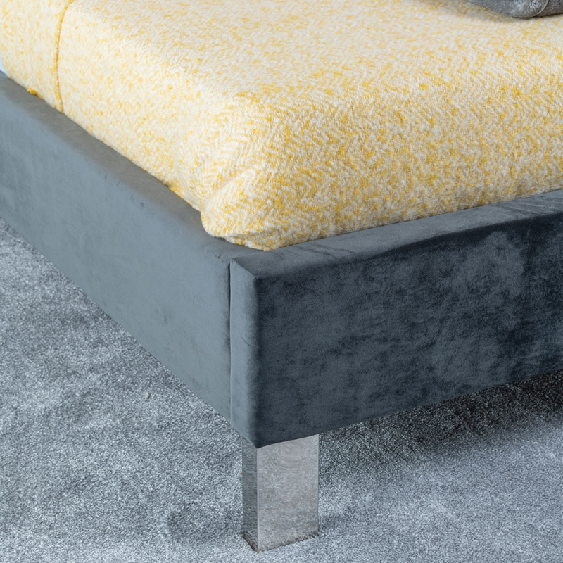 Urban Deco Monza Charcoal Grey Fabric 4ft 6in Bed