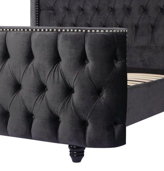 Urban Deco Grandee Chracoal Grey Fabric Bed