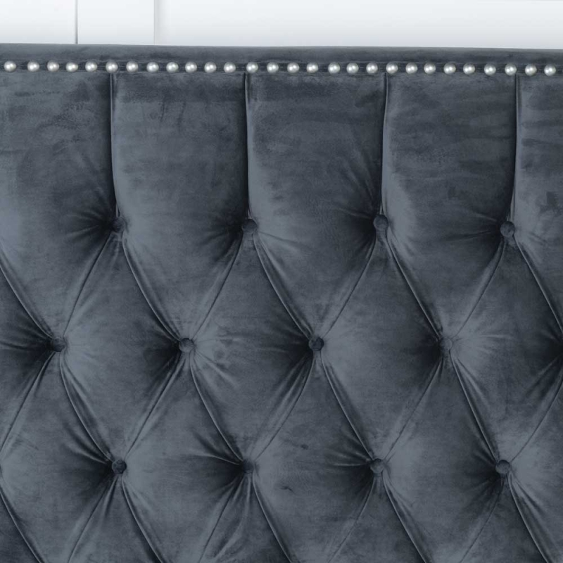 Urban Deco Grandee Charcoal Grey Fabric 5ft King Size Bed