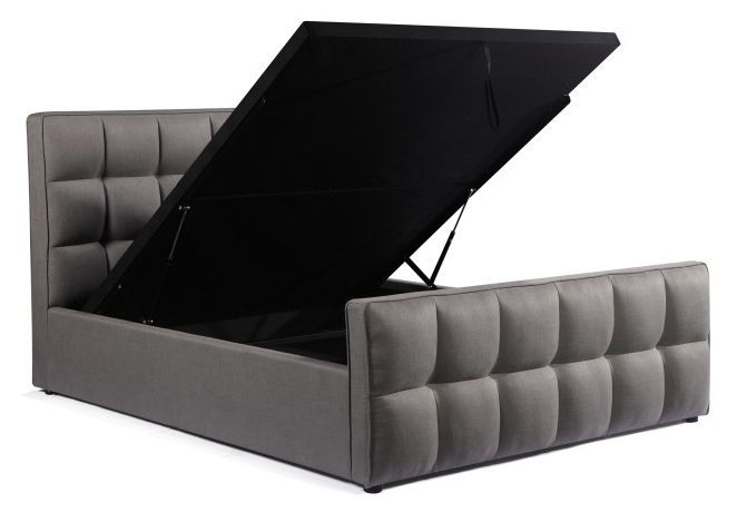 Urban Deco Cube Elephant Grey Fabric Ottoman Storage Bed