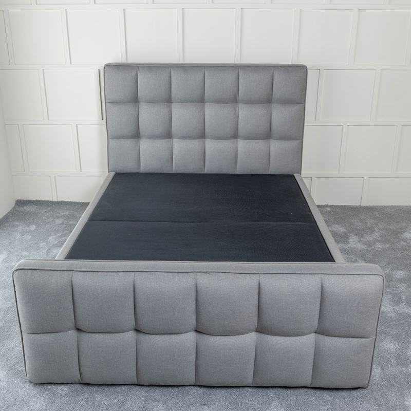 Urban Deco Cube Elephant Grey Fabric 4ft 6in Double Ottoman Storage Bed