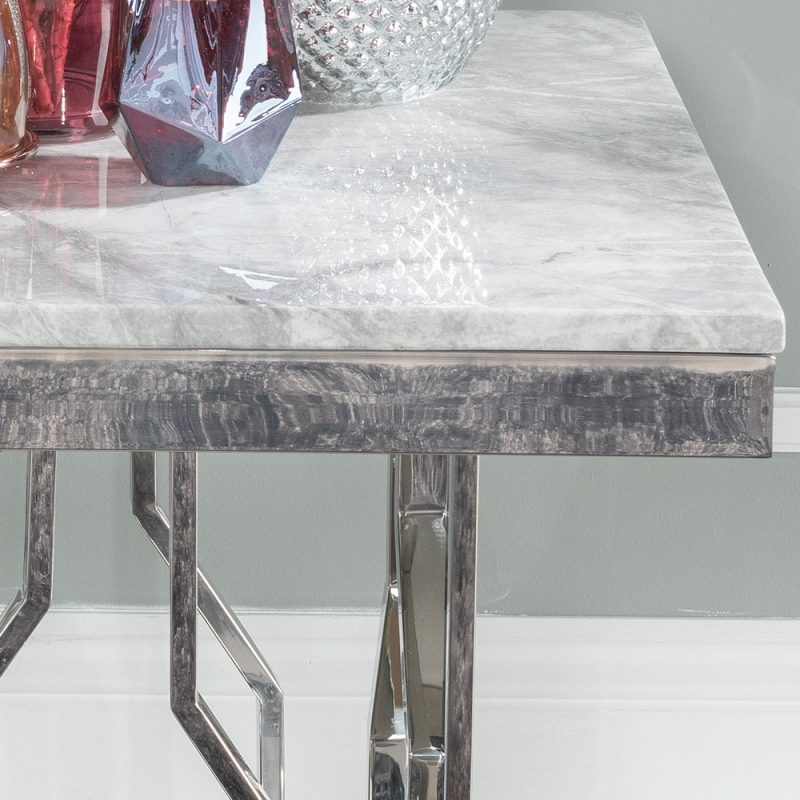 Urban Deco Vortex Side Table - Grey Marble and Stainless Steel Chrome