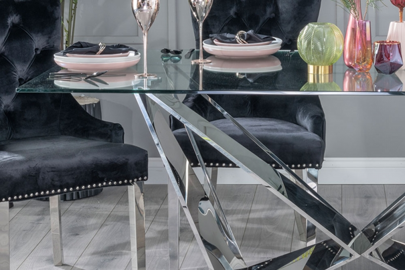 Urban Deco Jazz Dining Table with Black Velvet Knockerback Chairs - Glass and Stainless Steel Chrome
