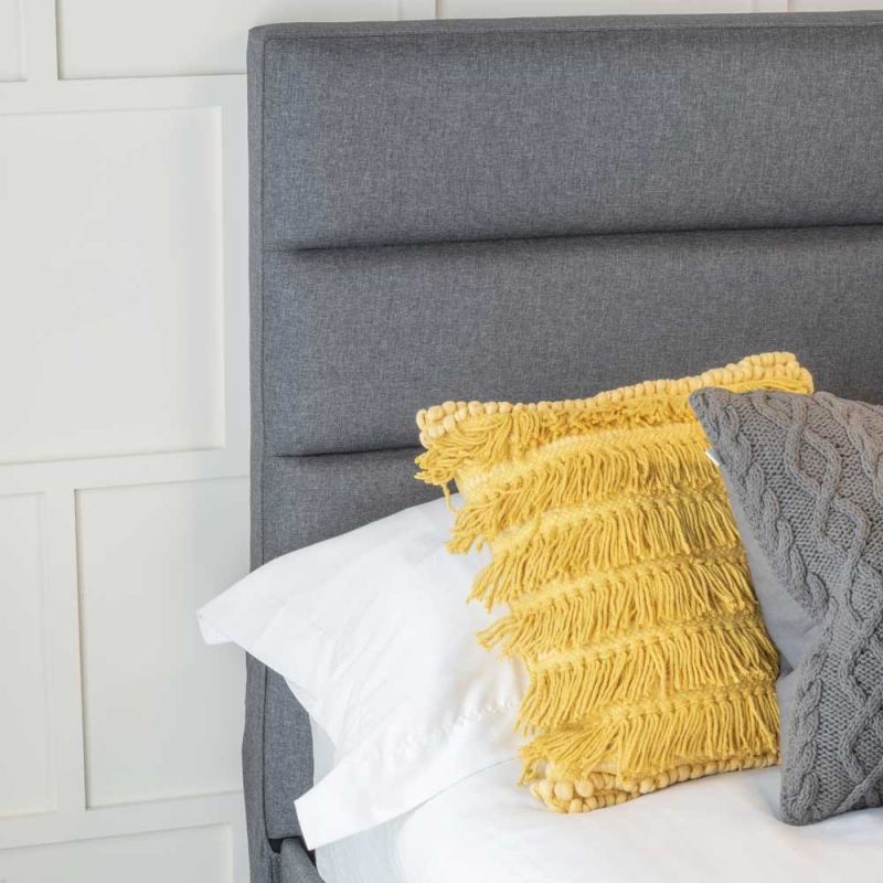 Urban Deco Rio Charcoal Grey Fabric 4ft 6in Double Bed