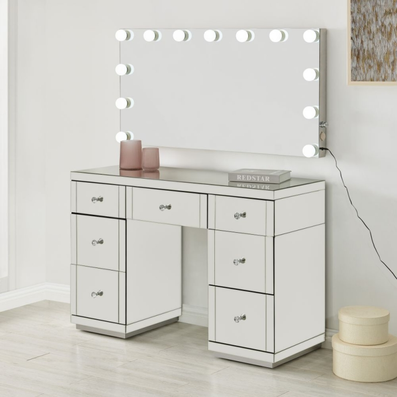 Hollywood Mirrored Dressing Table And Lighting Mirror