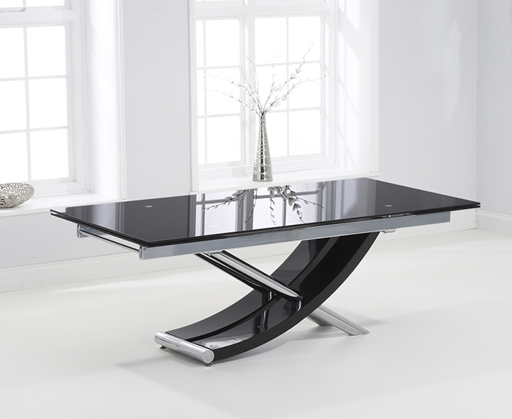 Carlton Extending Dining Table - Black Glass and Chrome