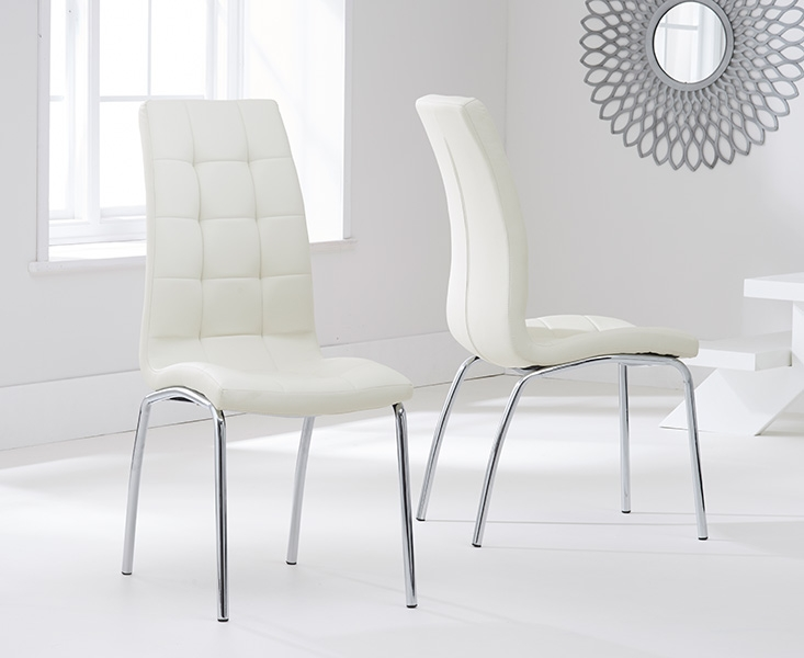Barron Glass Round Dining Table and 2 Chairs - Chrome and Cream