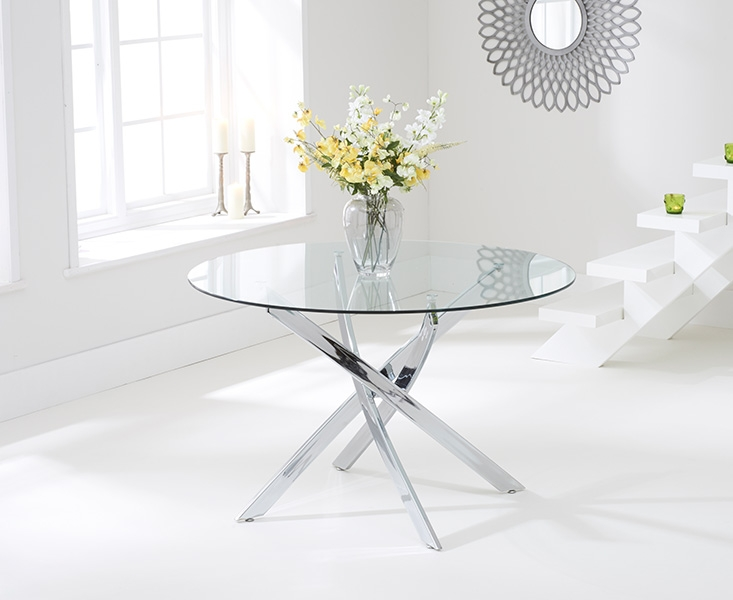 Barron Glass Round Dining Table and 2 Chairs - Chrome and White