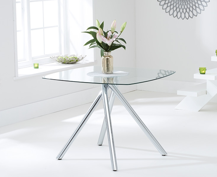 Plazzo Glass Square Dining Table and 2 Chairs - Chrome and Black