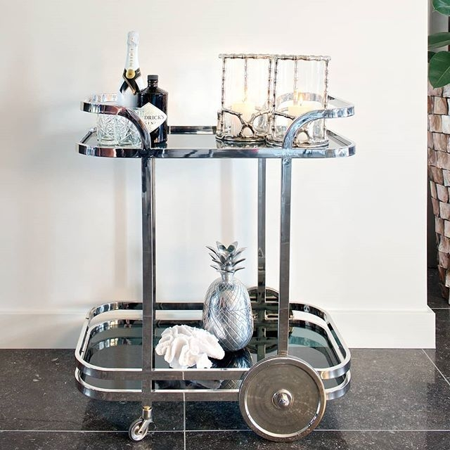 Hennesy Black Glass and Silver Trolley