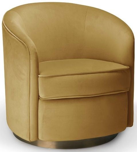 Buy Swivel Gold Velvet Fabric Armchair The Furn Shop