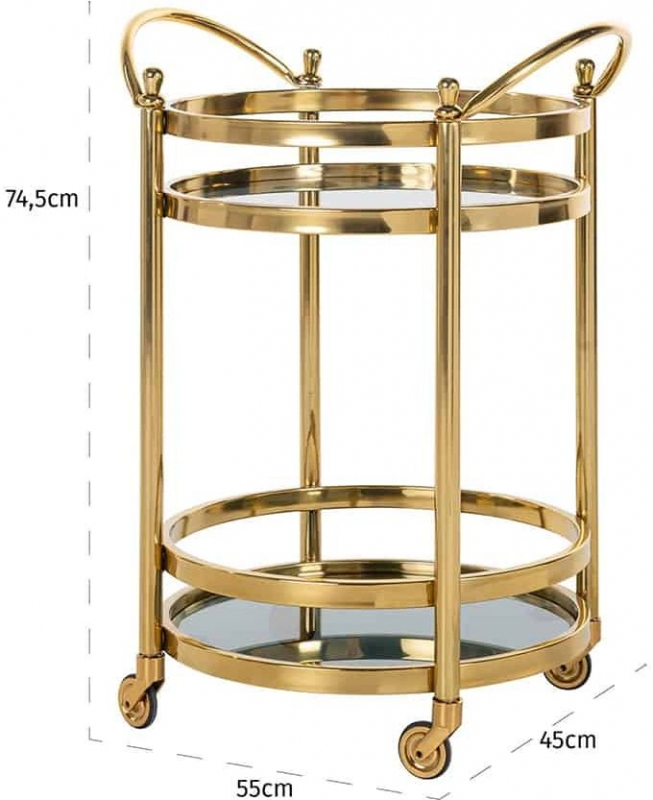 Hendricks Glass and Gold Round Trolley