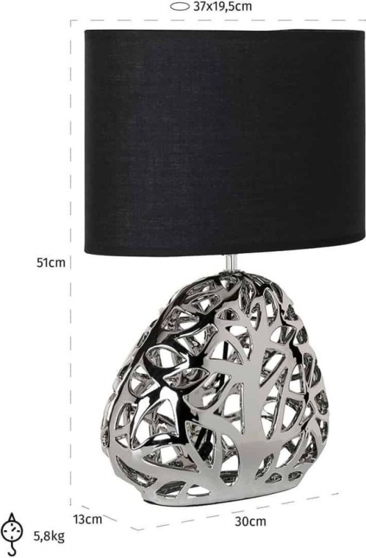 Aria Silver and Black Table Lamp