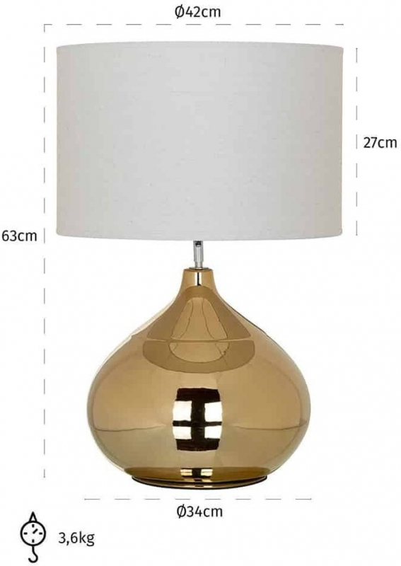 Lincoln Gold and White Table Lamp