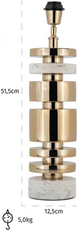 Staves Gold and Marble Table Lamp Base