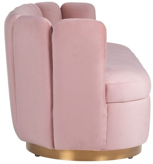 Camden Pink Velvet and Brushed Gold Fabric Sofa