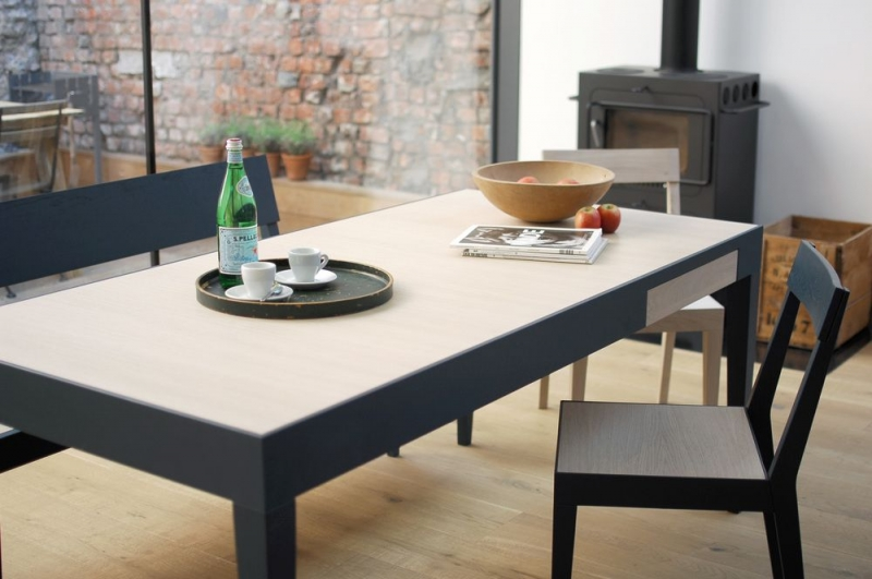 Cubo Blue Rectangular Dining Table with Drawer