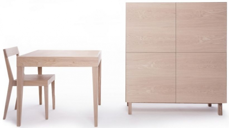 Cubo Oak Square Dining Table with Drawer