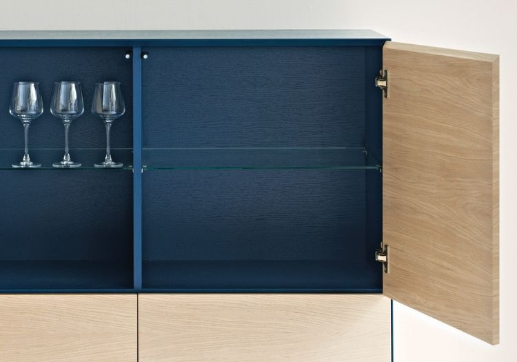 Cubo Blue Square Cabinet 2 Door and 4 Drawer