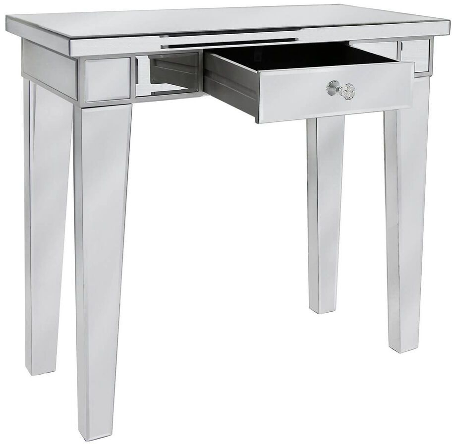 Paolo Mirrored 1 Drawer Console Table with Crystal Handle