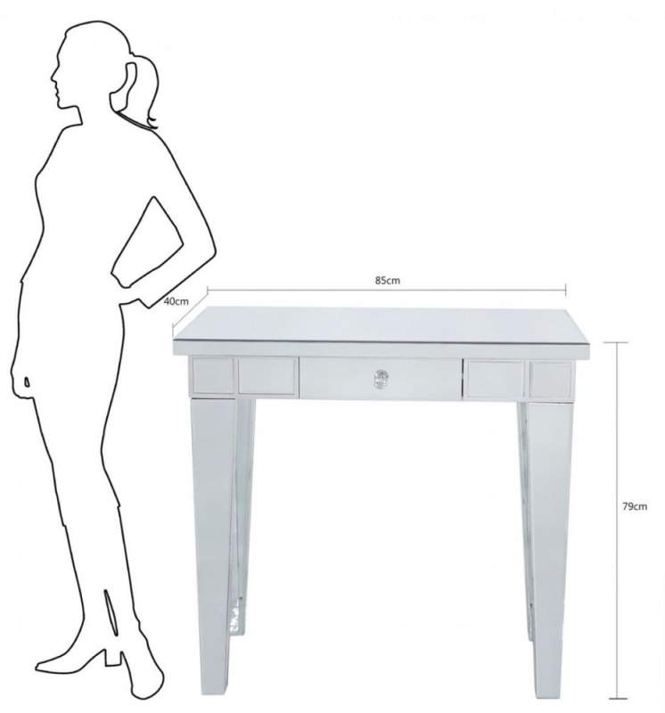 Paolo Mirrored Console Table with Crystal Handle