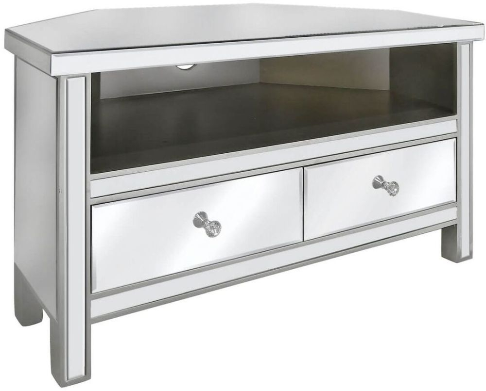 Paolo Mirrored 2 Drawer Corner Entertainment Unit
