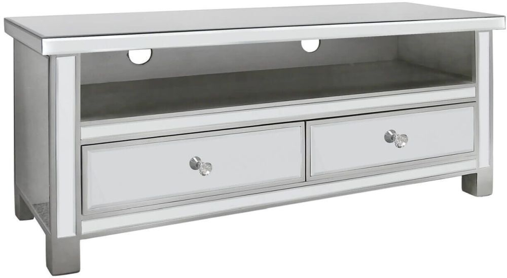 Paolo Mirrored 2 Drawer Entertainment Cabinet with New Crystal Handles