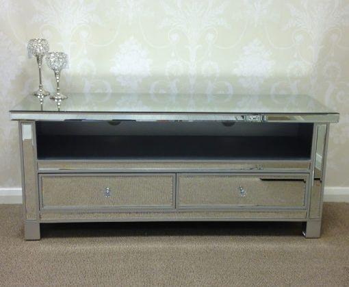 Paolo Mirrored Entertainment Cabinet with New Crystal Handles