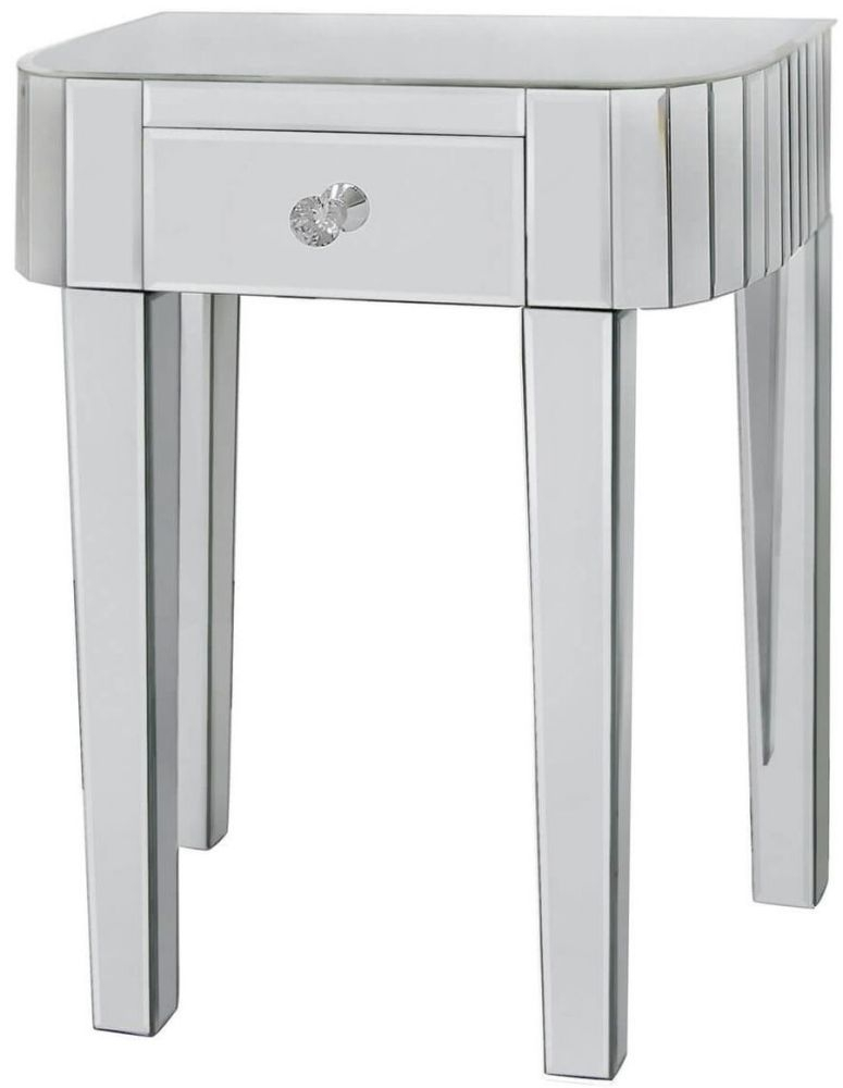 Paolo Mirrored 1 Drawer Small Lamp Table