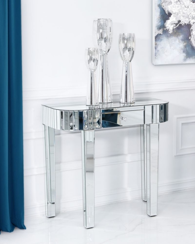 Paolo Mirrored Tile Console Table